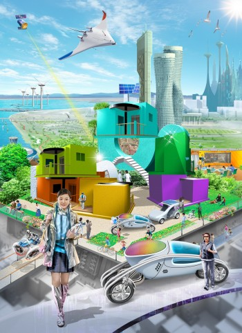 한국공학한림원이 선정한 미래 도전기술 20선이 반영된 2035년의 모습.  - 한국공학한림원 제공